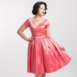 Pinup Couture Ava Swing Dress in Pink Taffeta
